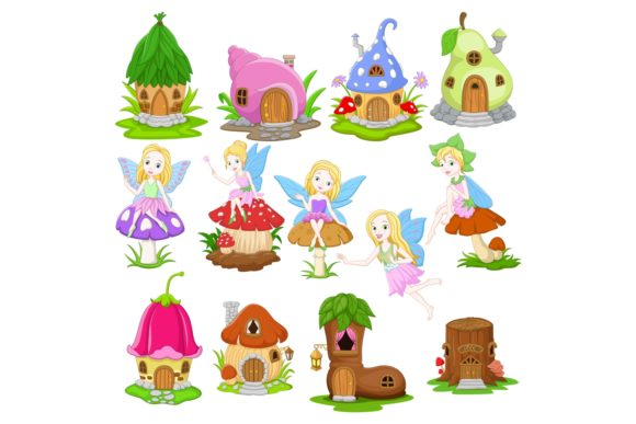 Fairy and Fairy Houses Vector Set Graphic Illustrations By tigatelusiji