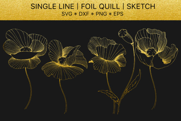 Print on Demand: Foil Quill Flowers Poppies Golden Monogram Graphic Illustrations By MyStocks
