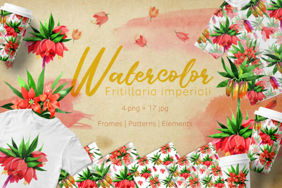 Print on Demand: Fritillaria Imperiali PNG Watercolor Flower Set Graphic Illustrations By MyStocks