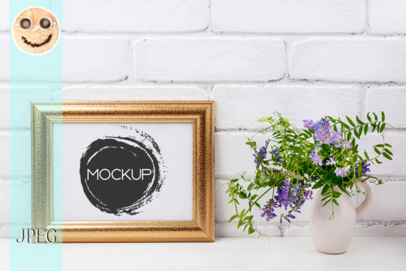 Print on Demand: Gold Decorated Landscape Frame Mockup Graphic Product Mockups By TasiPas