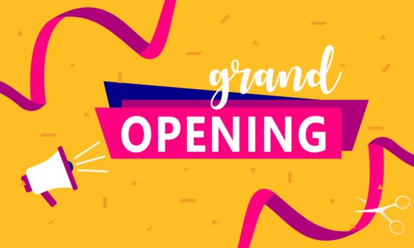 Grand Opening Background in Flat Style Graphic Backgrounds By 2qnah