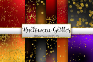 Print on Demand: Halloween Gold Glitter Digital Papers Graphic Backgrounds By PinkPearly