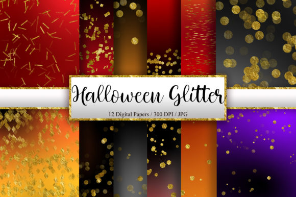 Halloween Gold Glitter Digital Papers Graphic Backgrounds By PinkPearly