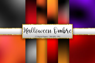 Print on Demand: Halloween Ombre Background Digital Paper Graphic Backgrounds By PinkPearly