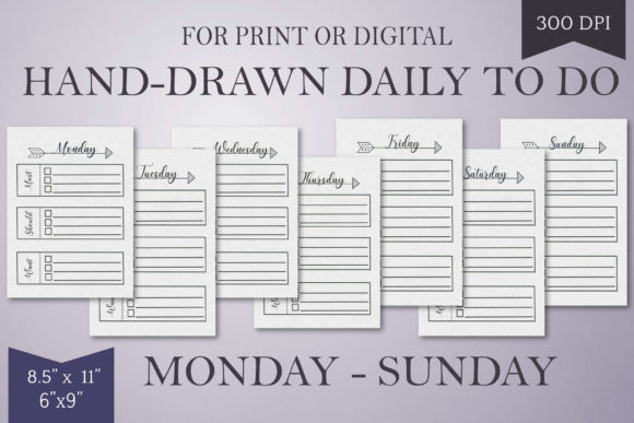 Print on Demand: Hand-Drawn Daily to Do List-Mon-Sun Graphic Print Templates By Digital Town