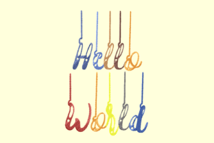 Print on Demand: Hello World Lettering Babies & Kids Quotes Embroidery Design By setiyadissi