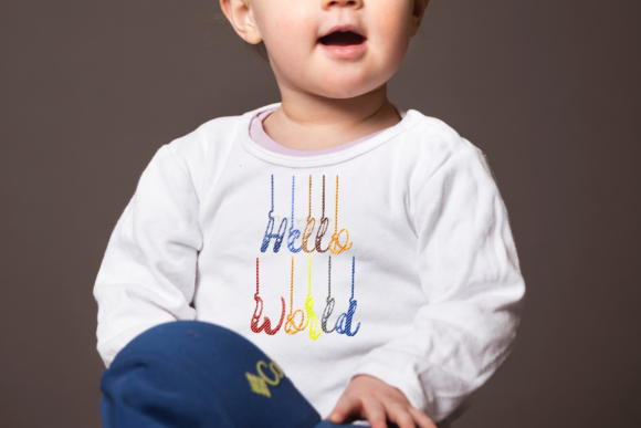 Hello World Lettering Embroidery Download
