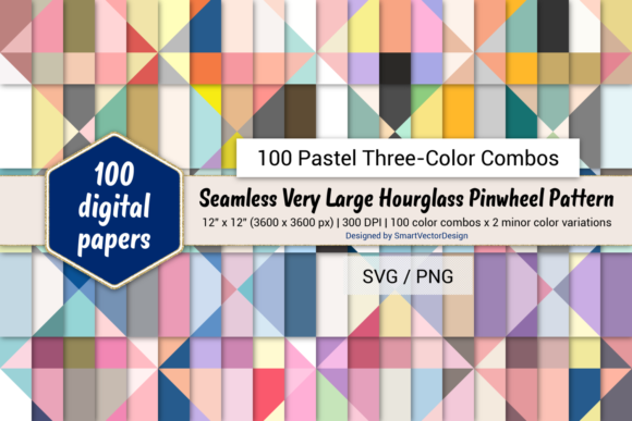 Print on Demand: Huge Hourglass - 100 Three-Color Pastels Graphic Backgrounds By SmartVectorDesign
