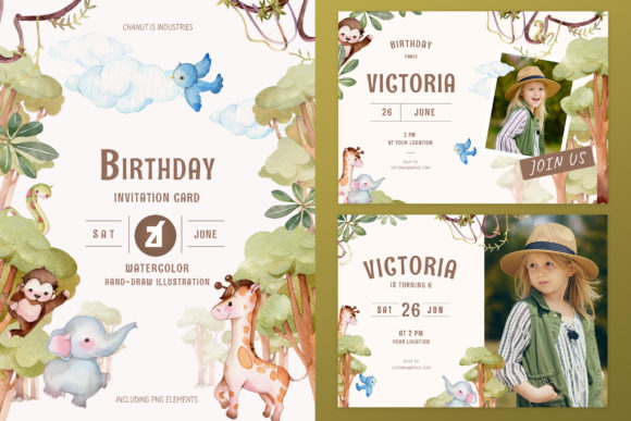 Jungle Theme Birthday Invitation Card Graphic Print Templates By Chanut is industries