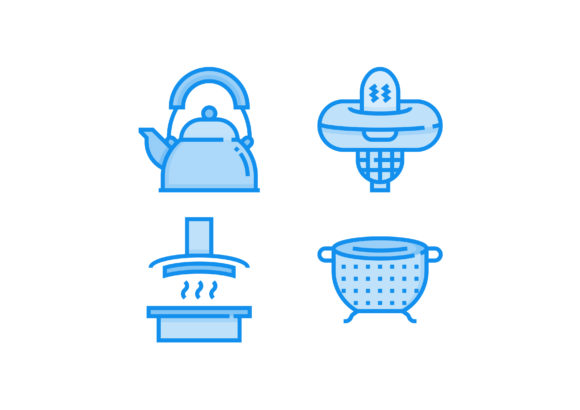Print on Demand: Kitchen Tools Blue Graphic Icons By Pektor