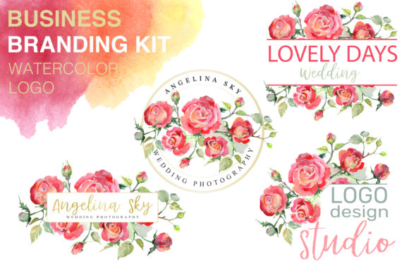 Print on Demand: LOGO with Red Roses Watercolor Graphic Illustrations By MyStocks
