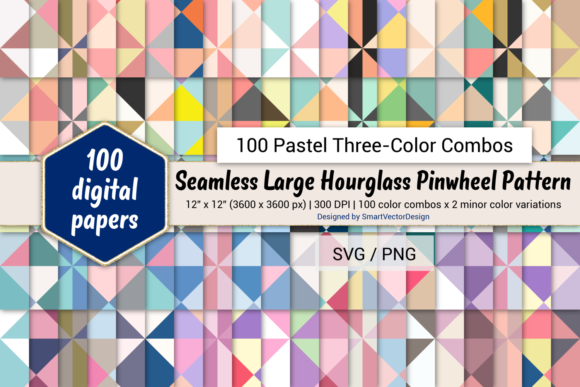 Print on Demand: Lrg Hourglass Paper-Three-Color Pastels Graphic Backgrounds By SmartVectorDesign