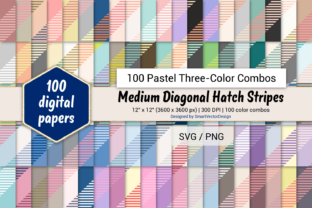 Print on Demand: M Diag Hatch Stripes-Three-Color Pastels Graphic Backgrounds By SmartVectorDesign