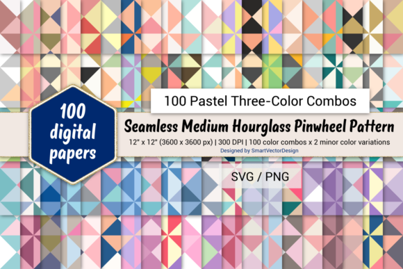 Print on Demand: Medium Hourglass-100 Three-Color Pastels Graphic Backgrounds By SmartVectorDesign
