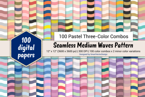 Print on Demand: Medium Waves - 100 Three-Color Pastels Graphic Backgrounds By SmartVectorDesign