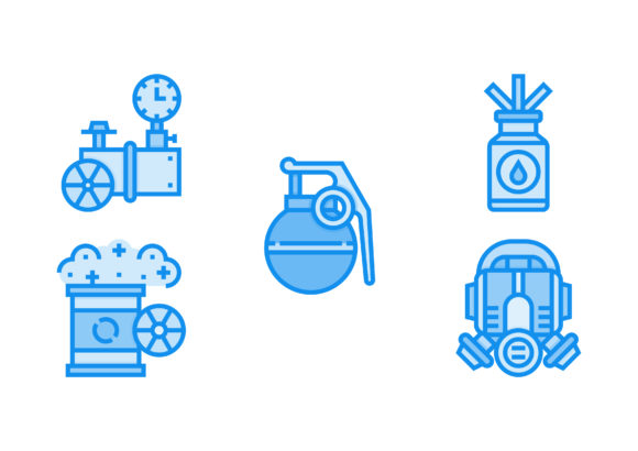 Print on Demand: Nuclear Elements Blue Graphic Icons By Pektor