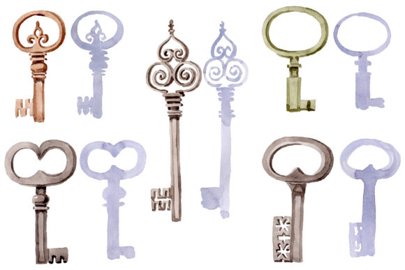 Print on Demand: Old Golden Key Watercolor Png Graphic Illustrations By MyStocks