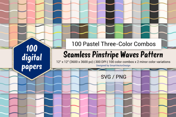 Print on Demand: Pinstripe Waves-100 Three-Color Pastels Graphic Backgrounds By SmartVectorDesign