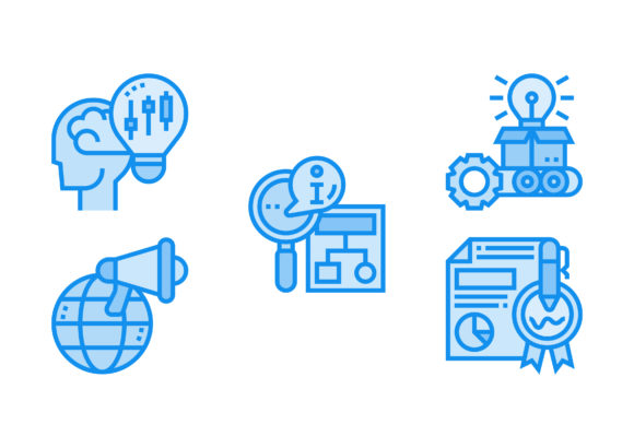 Print on Demand: Project Management Blue Graphic Icons By Pektor