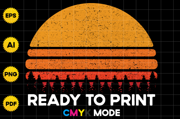 Print on Demand: Retro Vintage Sunset Half Circle Design Graphic Product Mockups By BioLite