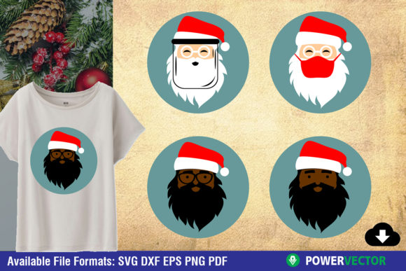 Santa Claus Face SVG   Christmas Clipart Graphic Crafts By PowerVECTOR