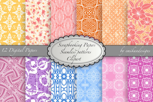 Seamless Scrapbook Paper and Clipart Graphic Patterns By emikundesigns