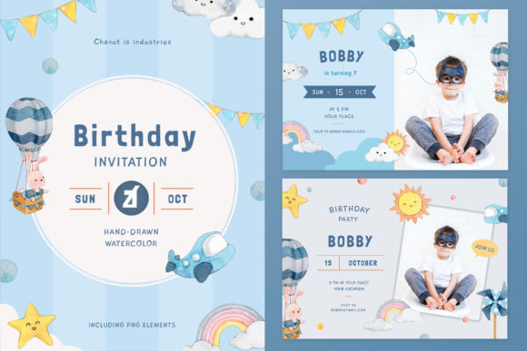 Sky Theme Birthday Invitation Card Graphic Print Templates By Chanut is watercolor