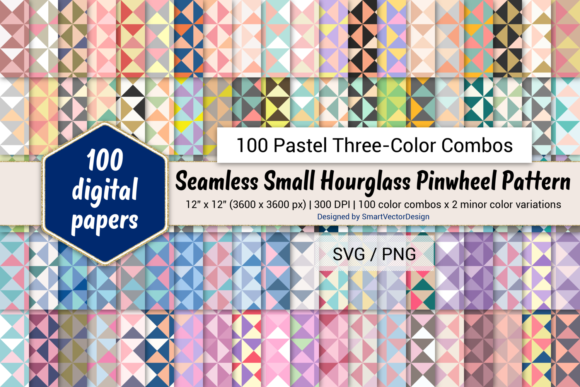 Print on Demand: Small Hourglass-100 Three-Color Pastels Graphic Backgrounds By SmartVectorDesign