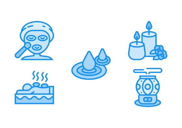 Print on Demand: Spa Element Blue Graphic Icons By Pektor