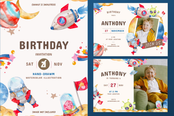 Space Theme Birthday Invitation Card Graphic Print Templates By Chanut is watercolor