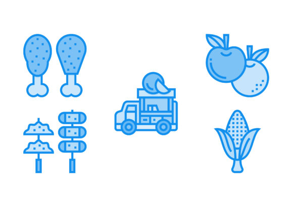 Print on Demand: Street Food and Food Trucker Blue Graphic Icons By Pektor