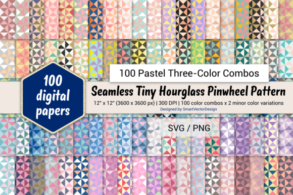 Print on Demand: Tiny Hourglass - 100 Three-Color Pastels Graphic Backgrounds By SmartVectorDesign