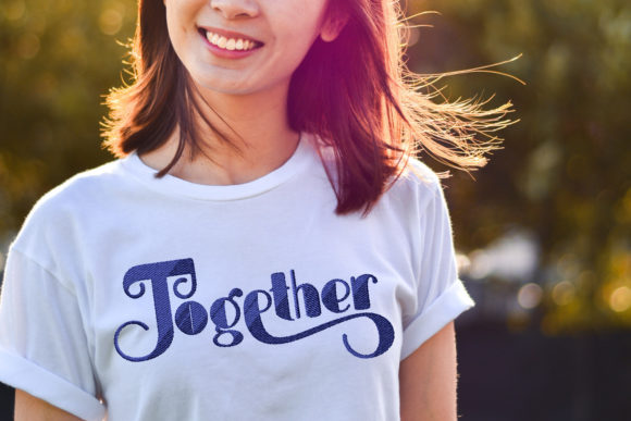 Print on Demand: Together Embroidery Lettering Wedding Quotes Embroidery Design By setiyadissi