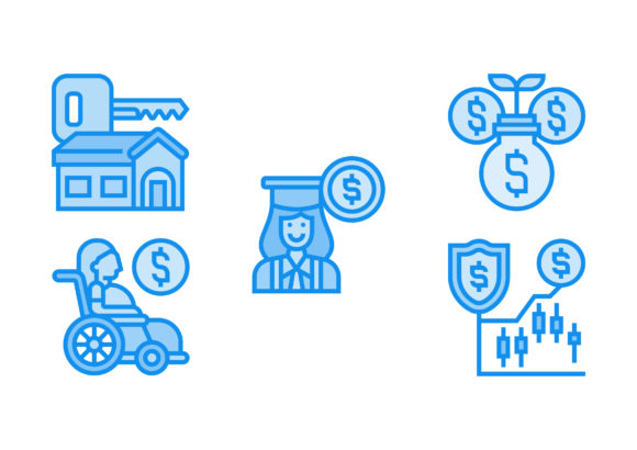 Print on Demand: Types of Investment Blue Graphic Icons By Pektor