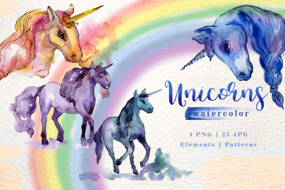 Print on Demand: Unicorn Watercolor Graphic Illustrations By MyStocks
