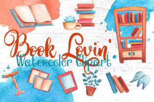Vintage Books Watercolor Clipart Graphic Illustrations By rabbitandpencil