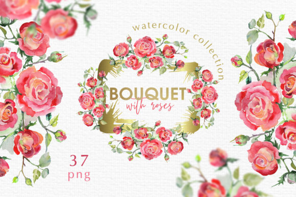 Print on Demand: Watercolor Bouquet with Red Roses Graphic Illustrations By MyStocks - Image 1