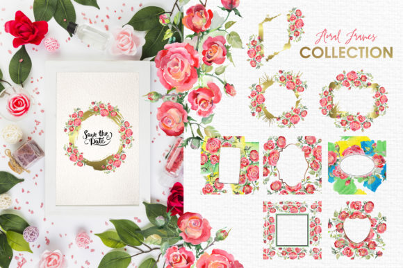 Print on Demand: Watercolor Bouquet with Red Roses Graphic Illustrations By MyStocks - Image 5