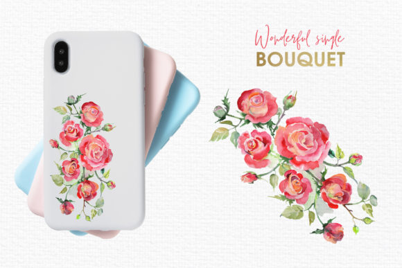 Print on Demand: Watercolor Bouquet with Red Roses Graphic Illustrations By MyStocks - Image 7
