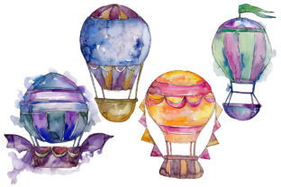 Print on Demand: Watercolor Blue Hot Air Balloon Set Graphic Illustrations By MyStocks