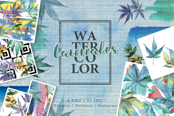 Print on Demand: Watercolor Cannabis PNG Leaves Set Graphic Illustrations By MyStocks