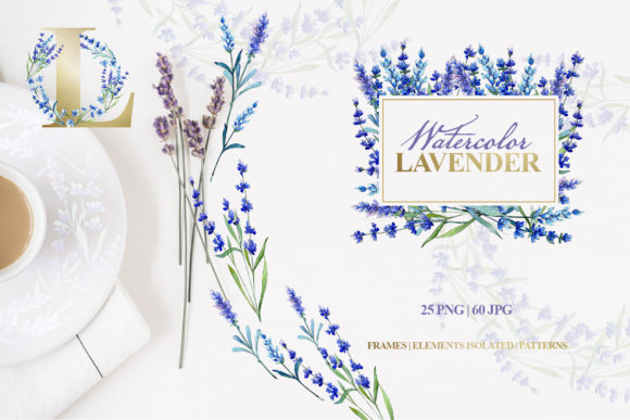 Print on Demand: Watercolor Lavender PNG JPG Set Graphic Illustrations By MyStocks
