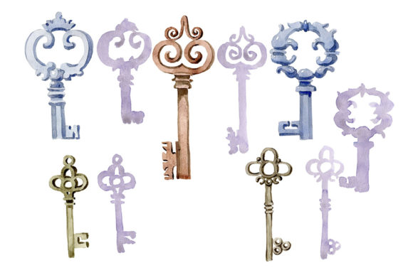 Print on Demand: Watercolor Vintage Old Keys PNG Set Graphic Illustrations By MyStocks