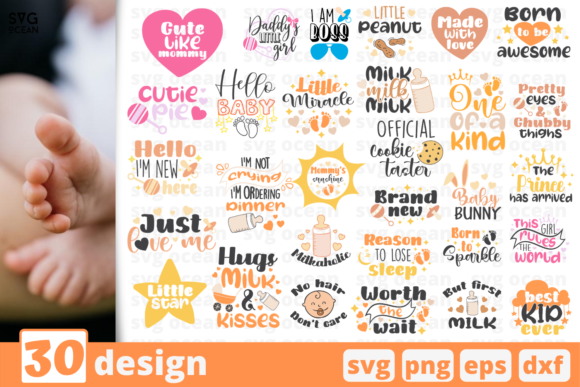 Print on Demand: 30 Designs Baby Svg for Cricut Graphic Crafts By SvgOcean