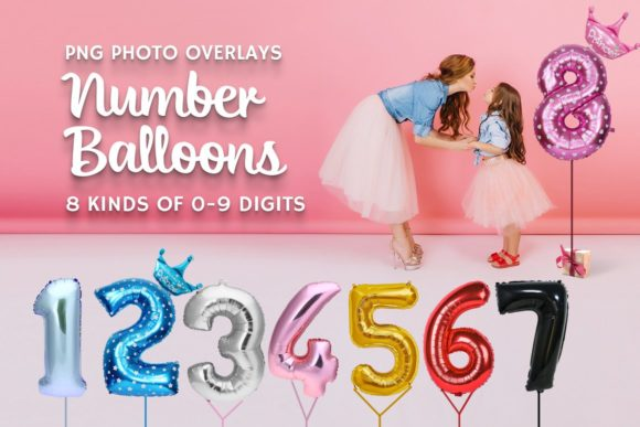80 Number Balloons Photo Overlays Graphic Add-ons By AUK_SOLUTION