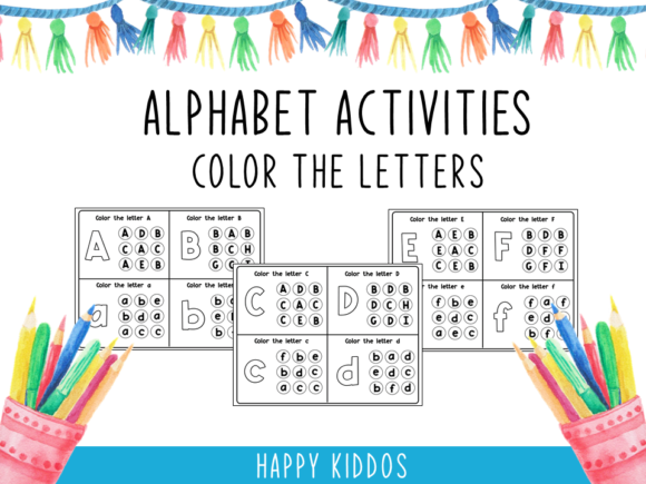 Alphabet Activities: Color the Letters Graphic K By Happy Kiddos