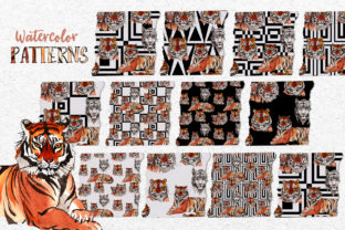 Print on Demand: Animals Tigers Watercolor Graphic Illustrations By MyStocks 3