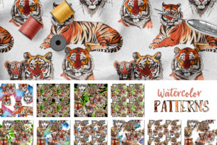 Print on Demand: Animals Tigers Watercolor Graphic Illustrations By MyStocks 5