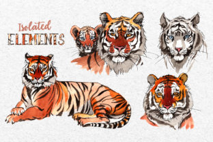 Print on Demand: Animals Tigers Watercolor Graphic Illustrations By MyStocks 6