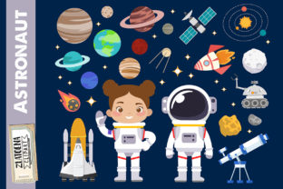 Astronaut Clipart Outer Space Graphics Graphic Illustrations By Zlatoena Clipart